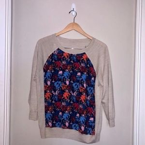 J. Crew Knit Top with Silk Floral Front
